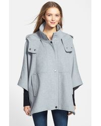 DKNY Gray 'blythe' Hooded Wool Blend Cape