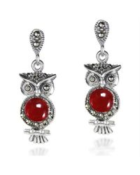 Aeravida | Metallic Night Owl Cherry Quartz And Marcasite Stone .925 Silver Drop Earrings | Lyst