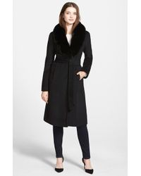 Ellen Tracy | Black Genuine Fox Collar Wool Blend Long Wrap Coat | Lyst