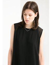 Mango - Black Chiffon Applique Dress - Lyst