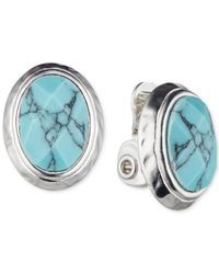 Jones New York | Blue Silver-tone Faux-turquoise Oval Clip-on Stud Earrings | Lyst