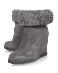 UGG Gray Kyra Slip On Flap Over Boots