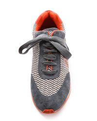Tory Burch Gray Delancey Printed Sneakers Zigzag Adark Greypoppy
