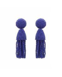 Oscar de la Renta - Purple Two-tiered Beaded Tassel Clip-on Earrings - Lyst