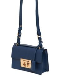 Ferragamo Blue Small Aileen Smooth Leather Bag