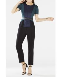BCBGMAXAZRIA - Blue Cassaundra Short-sleeve Color-blocked Top - Lyst
