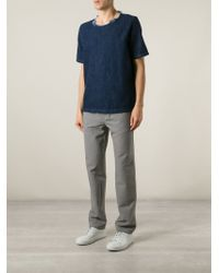 Our Legacy Blue Frayed Neck Denim T-Shirt for men