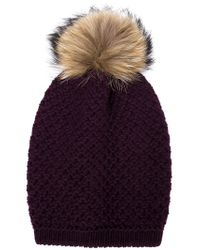 Inverni - Purple Raccoon Fur Pompom Beanie - Lyst