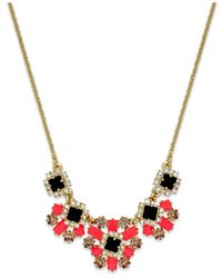 Kate Spade | Metallic Gold-tone Stone And Crystal Flower Cluster Frontal Necklace | Lyst