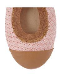 Yosi Samra Pink Woven-effect Leather Ballet Flats
