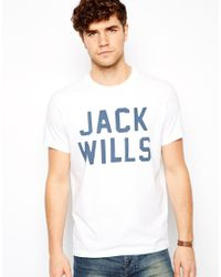 Jack Wills White Westmore Tshirt with Large Logo Print for men