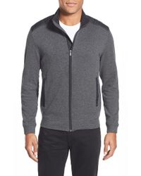 Bugatchi - Gray Elbow Patch Zip Cardigan for Men - Lyst