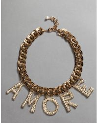 "Dolce & Gabbana - Metallic ""amore"" Necklace - Lyst"