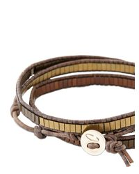 Colana Brown Leather Wrap Bracelet W/ Multi Hematite