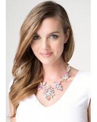 Bebe - Metallic Mix Cut Crystal Necklace - Lyst