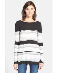 VINCE | Black Engineered Stripe Long Sleeve Tee | Lyst