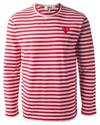Comme des Garçons | Red Striped Heart Logo Tshirt for Men | Lyst