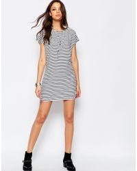Noisy May Tall Striped Shift Dress - White