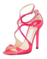 Jimmy Choo - Pink Lang Patent Strappy Sandal - Lyst