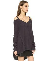 Free People Black Moonshine V Neck Sweater