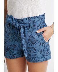 Forever 21 | Blue Belted Leaf Print Shorts | Lyst