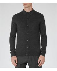 Reiss | Gray Oracle Merino Wool Polo Shirt for Men | Lyst