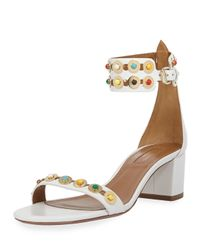 Aquazzura - White Byzantine Studded Sandals - Lyst