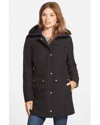 Vince Camuto | Black Trapunto Detail Hooded Soft Shell Jacket | Lyst