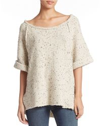 Free People | Natural Oversized Short Sleeve Sweater | Lyst