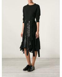 Junya Watanabe Black Multi-Fibre Fringed Skirt