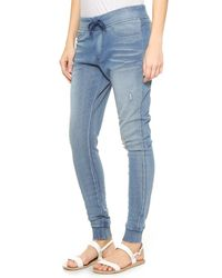 Pam & Gela Blue French Terry Denim Track Pants - Indigo Denim Wash