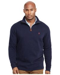 Polo Ralph Lauren | Blue Big And Tall French-rib Half-zip Pullover Sweater for Men | Lyst