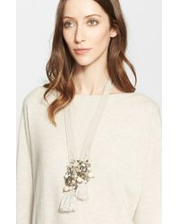 Fabiana Filippi | Natural Beaded Tassel Suede Necklace | Lyst