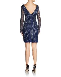 Adrianna Papell - Blue Sequined Swirl Cocktail Dress - Lyst