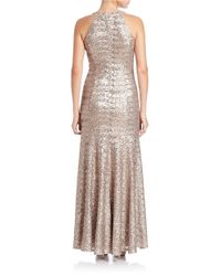 Vince Camuto Metallic Sequined Halter Gown