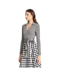 Diane von Furstenberg | Black Dvf Amelianna Flared Silk Combo Wrap Dress | Lyst