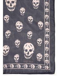 Alexander McQueen Blue Skull-print Chiffon Scarf