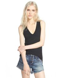 James Perse - Black Skinny Brushed Jersey Racerback Tank - Lyst