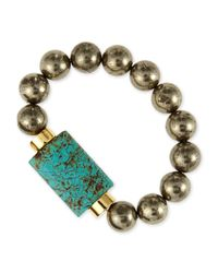 Nest | Green Turquoise & Pyrite Bead Stretch Bracelet | Lyst