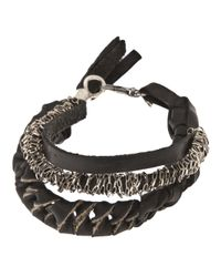 Emanuele Bicocchi Black Twisted Bracelet for men