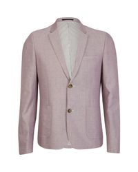 River Island - Light Pink Double Button Oxford Blazer for Men - Lyst