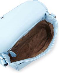 Bottega Veneta Blue Small Woven Flap Leather Cross-Body Bag