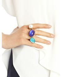Oscar de la Renta - Blue Multi Cabochon Two-Finger Ring - Lyst