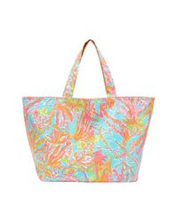 Lilly Pulitzer | Blue Print Canvas Beach Tote | Lyst