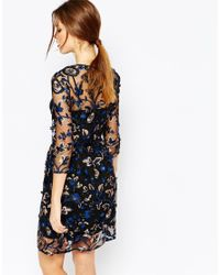 Warehouse - Premium Floral Embroidered Dress - Blue - Lyst