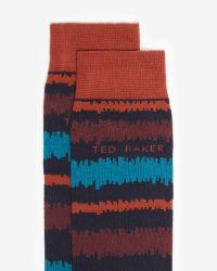 Ted Baker - Orange Ikat Stripe Cotton Socks for Men - Lyst