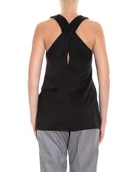 Theory - Black Cross Back Top - Lyst
