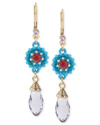 Betsey Johnson | Blue Gold-tone Crystal Drop Earrings | Lyst