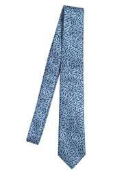 KENZO Blue Printed Silk Pocket Square for men