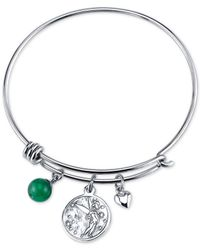 Disney | Metallic Tinkerbell Dreaming Of You Bangle Bracelet In Stainless Steel With Silver-plated Charms | Lyst